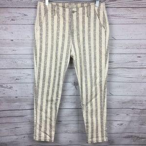 FREE PEOPLE Grey Striped Wash Skinny Jeans 25